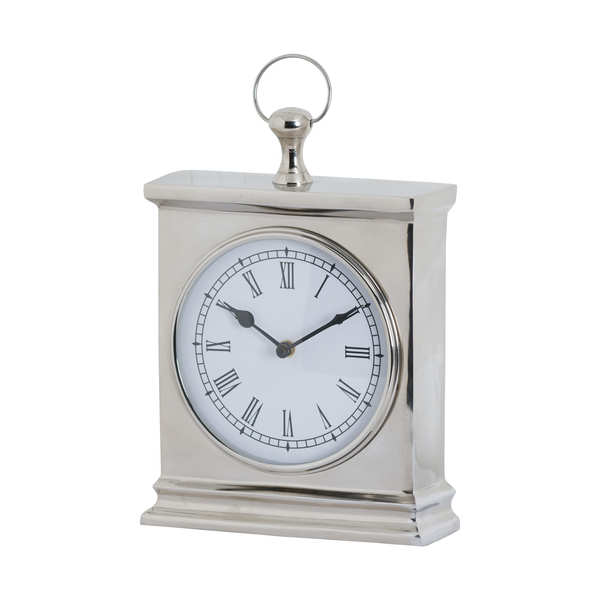 Polished Nickel Carriage Mantel Clock