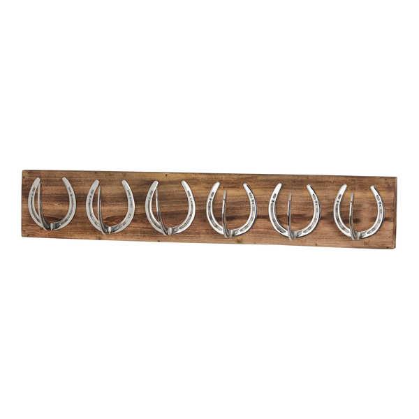 Six Nickel Horse Shoe Hooks On Wooden Board