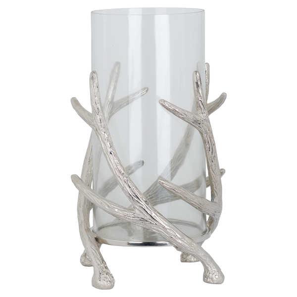 Polished Nickel Stag Antler Large Candle Holder