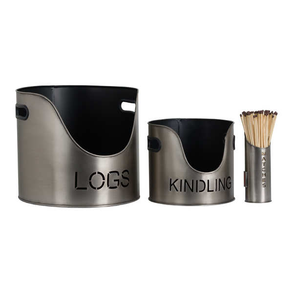 Log's & Kindling Buckets + Matchstick Holder In Aged Pewter