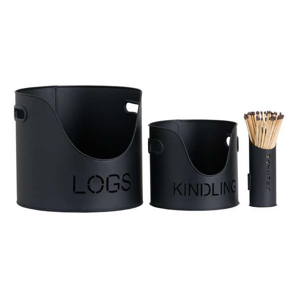 Log's & Kindling Buckets + Matchstick Holder In Black