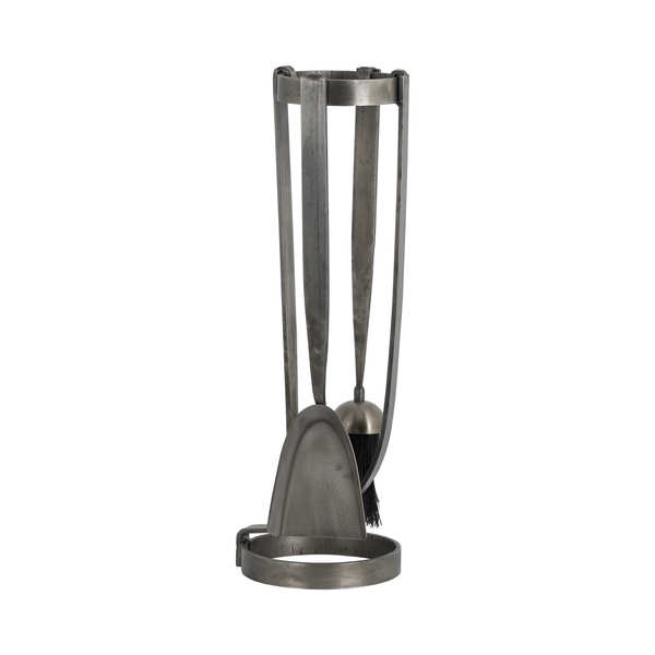 Curved Fireside Companion Set In Antique Pewter With Ring Detail
