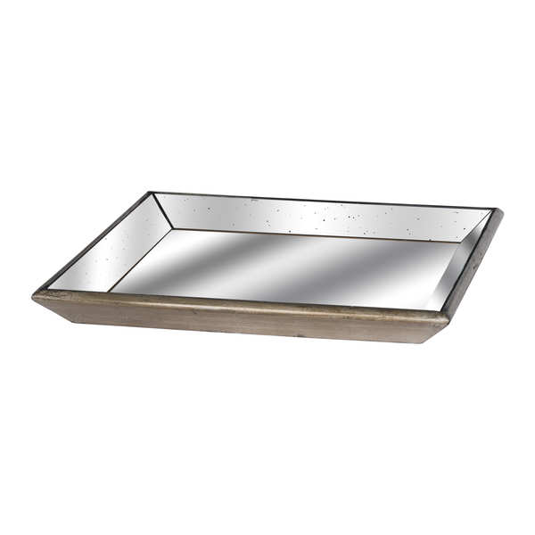 Astor Distressed Mirrored Square Tray With Wooden Detailing