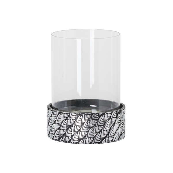 Art Deco Swirl Black and Silver Candle Holder