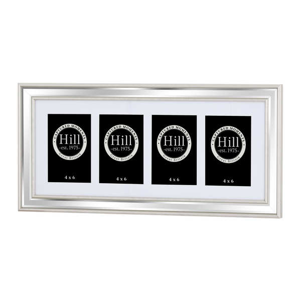 Champagne Edged Bevelled Mirror Multi Photo Frame 4 x 4x6