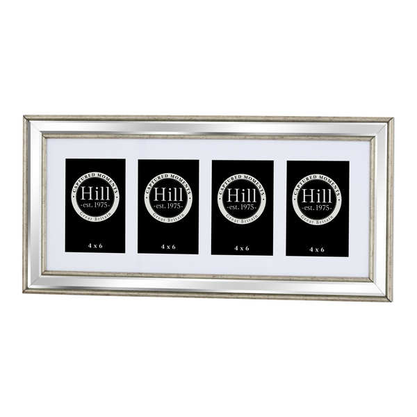 Silver Bevelled Mirrored Multi Photo Frame For 4 x 4X6