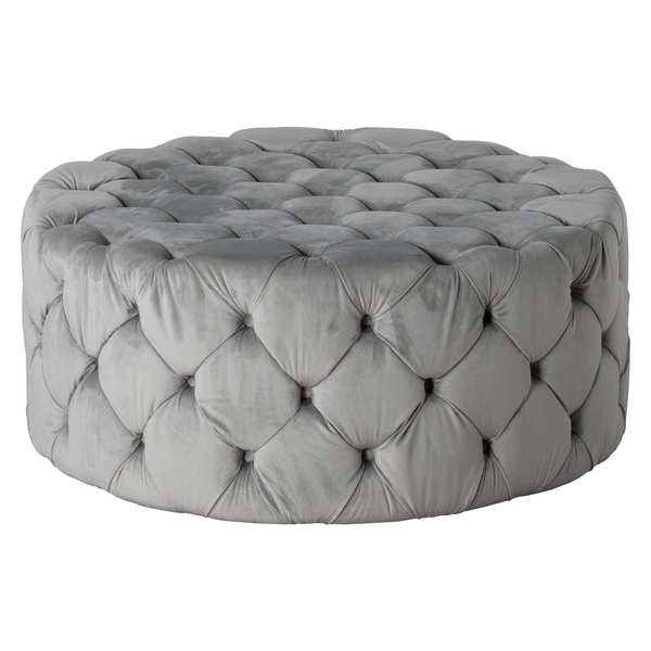 Grey Velvet Tufted Large Round Footstool