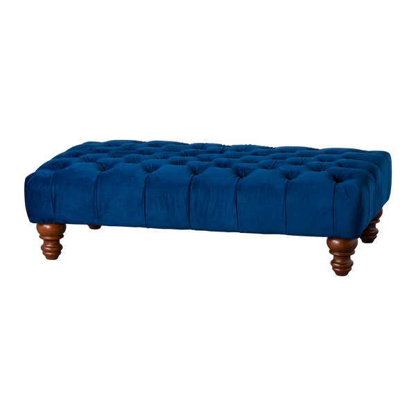 Navy Velvet Tufted Rectangle Ottoman