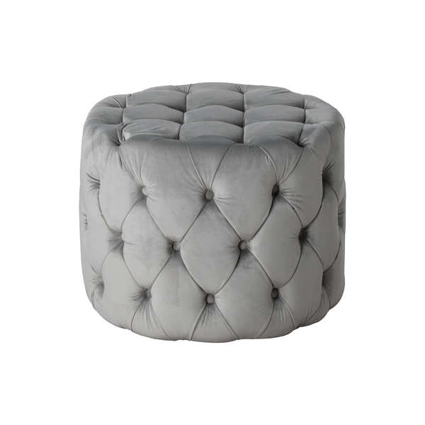 Grey Velvet Tufted Small Round Footstool