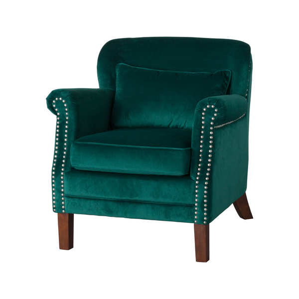 Emerald Velvet Low Backed Studded Armchair