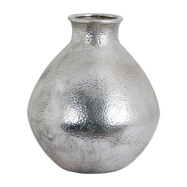 Metallic Ceramic Spherical Vase With Raised Neck From Hill Interiors