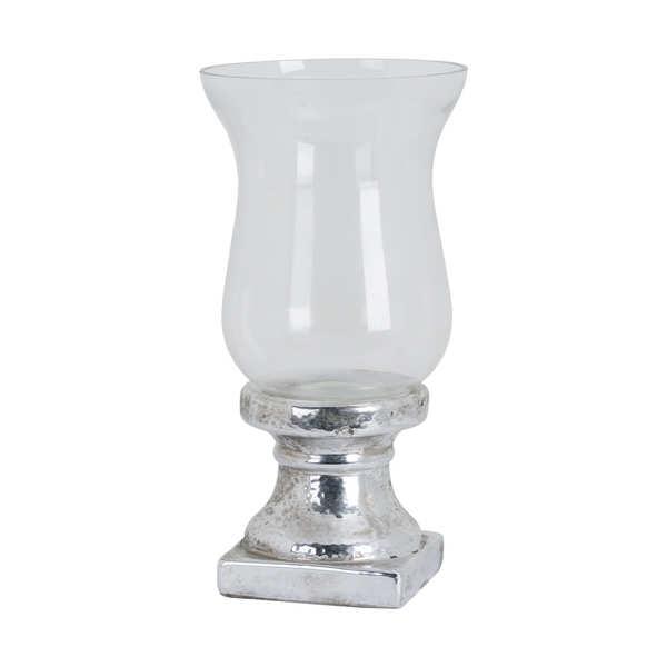 Large Metallic Ceramic Hurricane Lantern