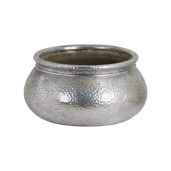 Metallic Ceramic Round Wide Necked Planter