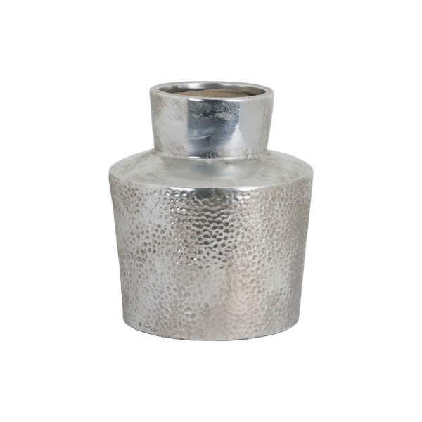 Metallic Ceramic Raised Neck Tapered Vase