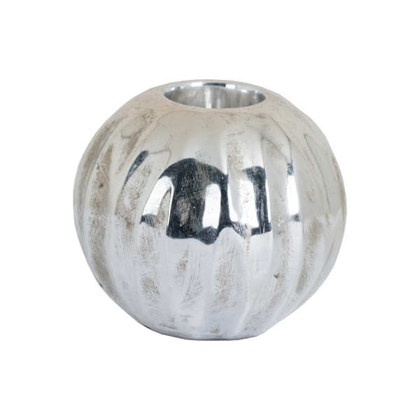 Medium Spherical Detailed Metallic Ceramic Tealight Holder
