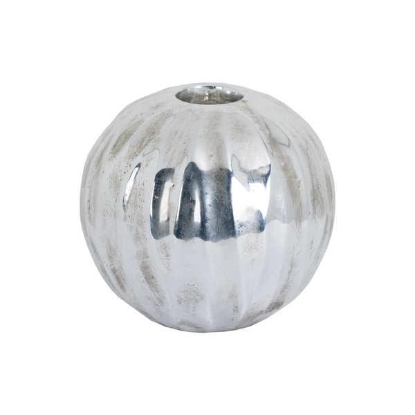 Large Spherical Detailed Metallic Ceramic Tealight Holder