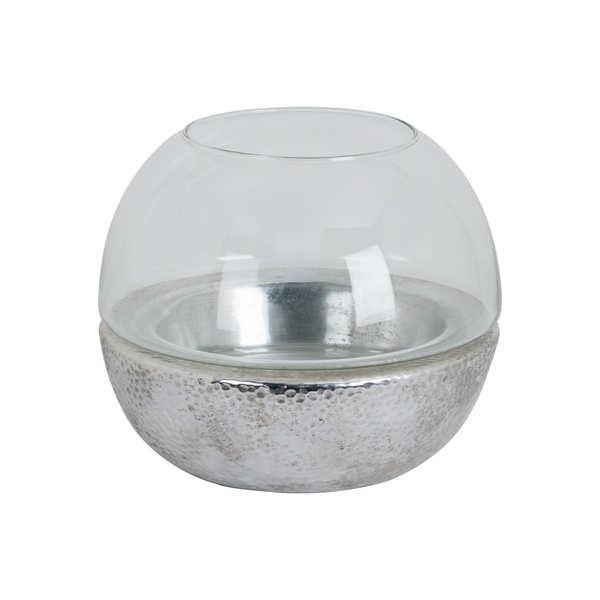 Large Metallic Ceramic Spherical Hurricane Lantern