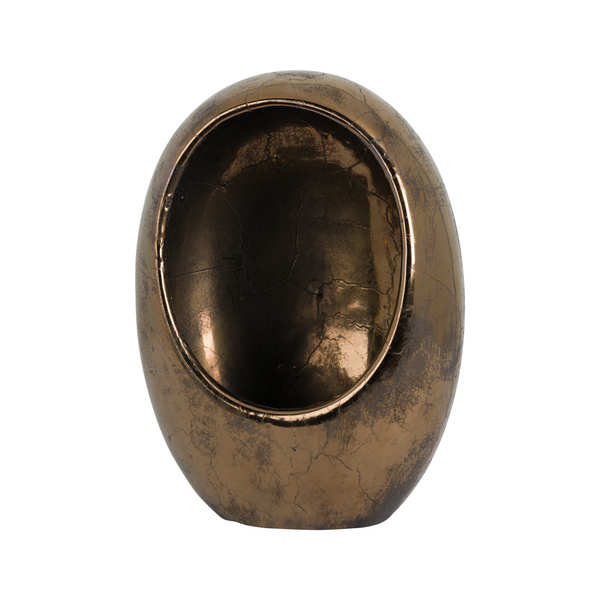 Large Metallic Ceramic Oval Hollow Candle Holder