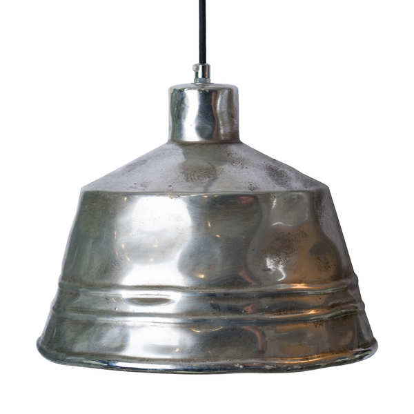 Hammered Effect Silver Ceramic Pendant Light