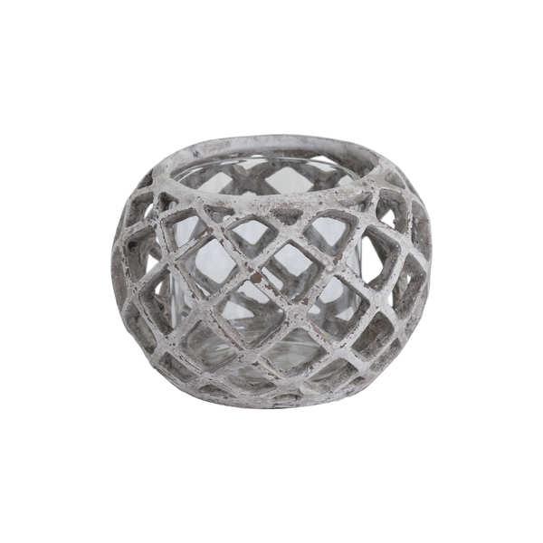 Large Round Ceramic Lattice Hurricane Lantern