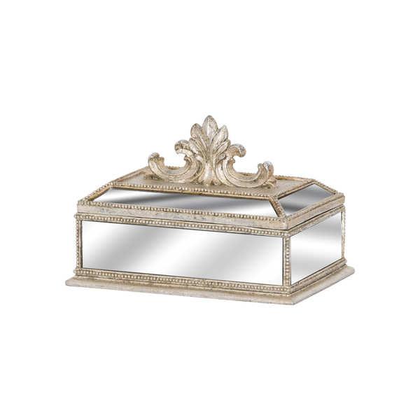 Champagne Ornate Trinket Box With Fleur De Lis