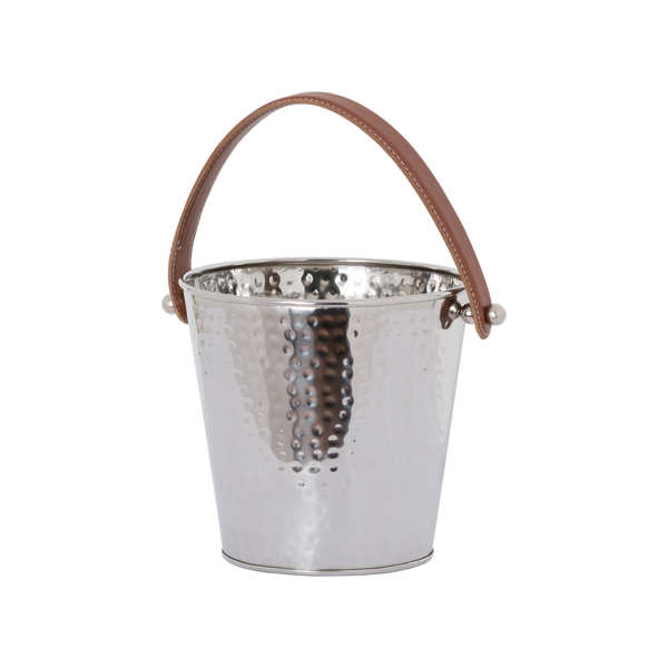 Faux Floral Nickel Bucket With Leather Handles