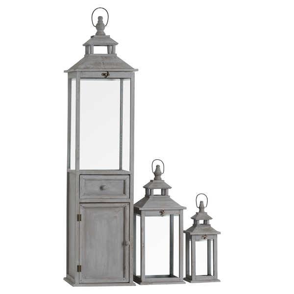 Set Of 3 Wooden Lanterns With Large 1 Door 1 Draw Lantern