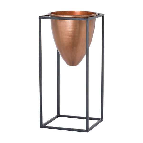 Large Copper Bullet Planter On Black Frame