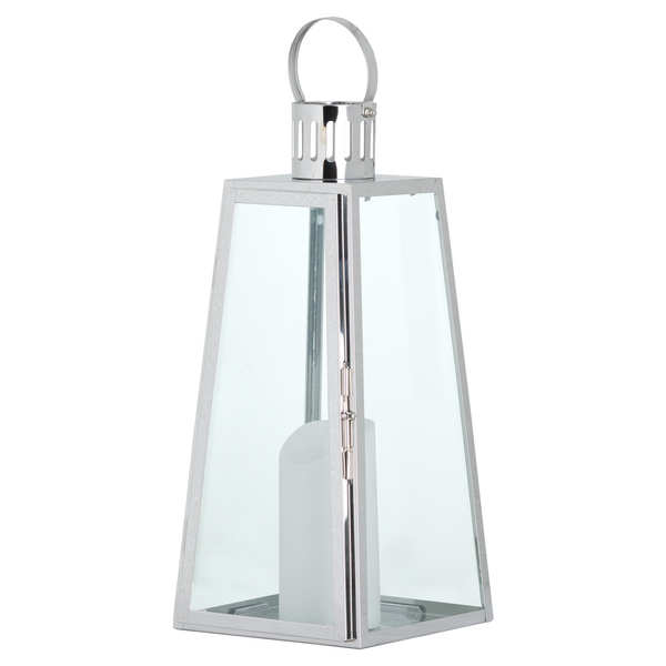 Large Stainless Steel Lighthouse Lantern With Wax Flickering Flame Candle