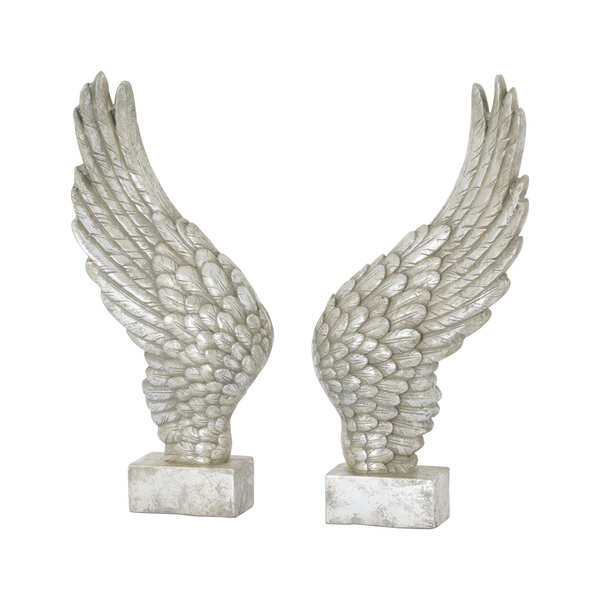 Large Freestanding Antique Silver Angel Wings Ornament
