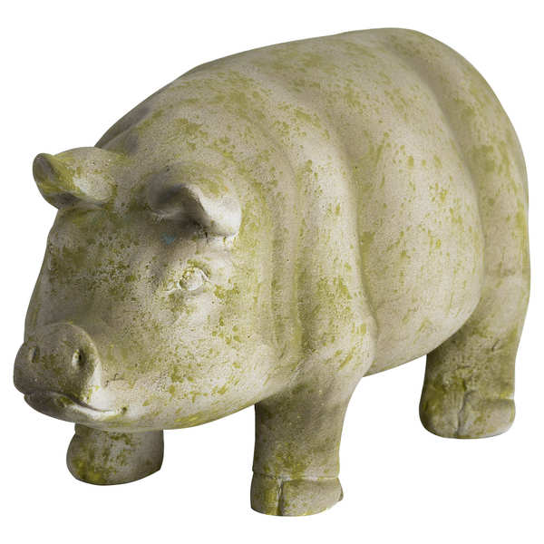 Aged Stone Outdoor Standing Hereford Pig Ornament