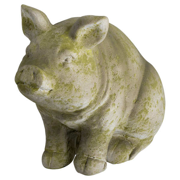 Aged Stone Outdoor Sitting Hereford Pig Ornament