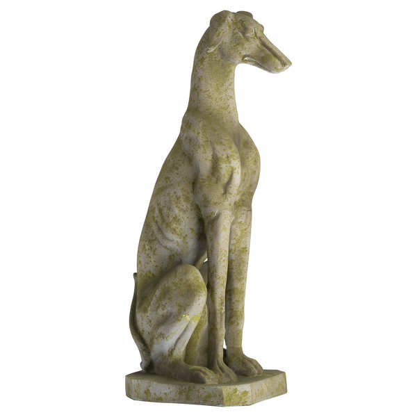 Outdoor Aged Stone Sighthound Dog Ornament
