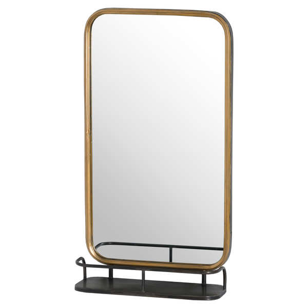 Antique Bronze Industrial Curved Mirror With Shelf