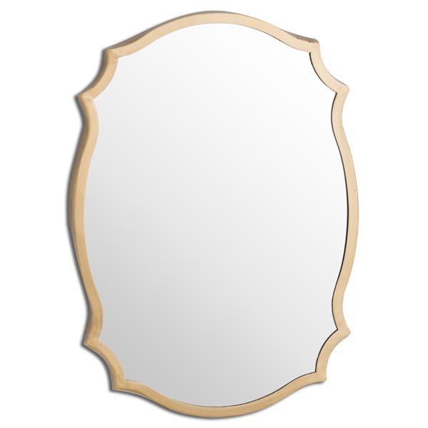 Antique Bronze Ornate Curved Mirror