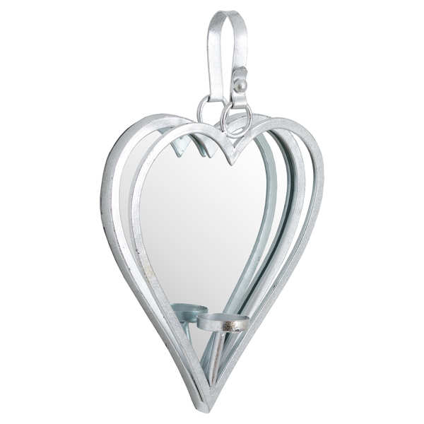 Small Silver Mirrored Heart Candle Holder