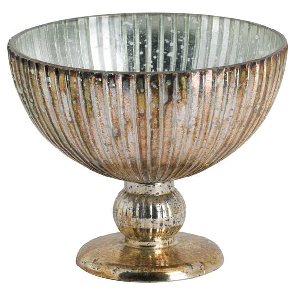 Glass Bowl In Antique Bronze Finish
