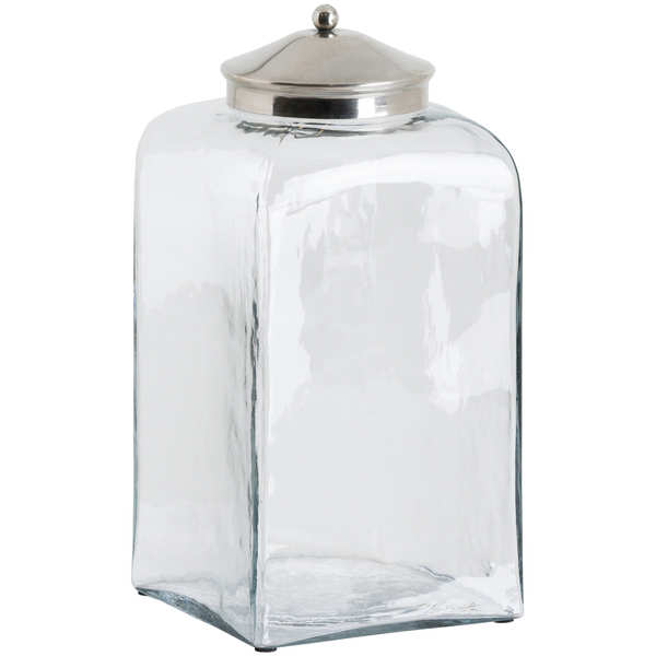 Tall Hammered Glass Jar With Conical Chrome Lid