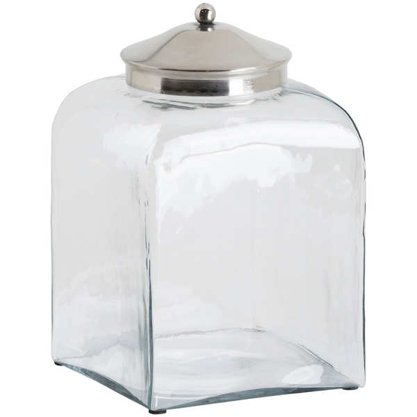 Hammered Glass Jar With Conical Chrome Lid