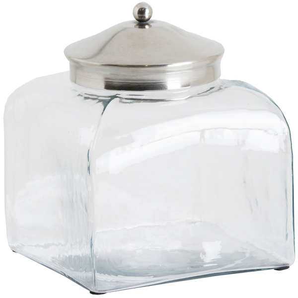 Short Hammered Glass Jar With Conical Chrome Lid