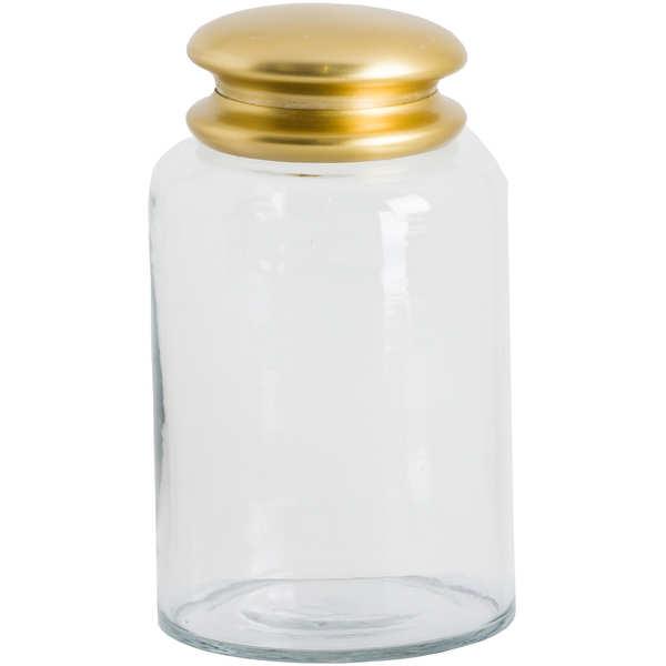 Tall Glass Storage Pot With Brass Lid