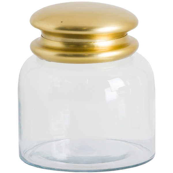 Medium Glass Storage Pot With Brass Lid