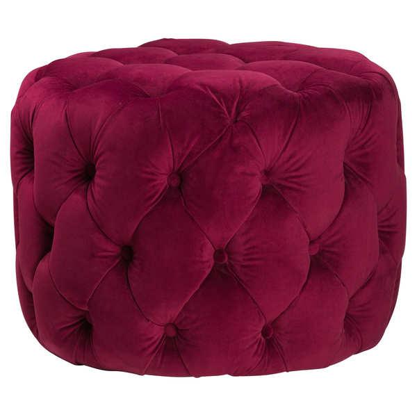 Aubergine Velvet Round Footstool