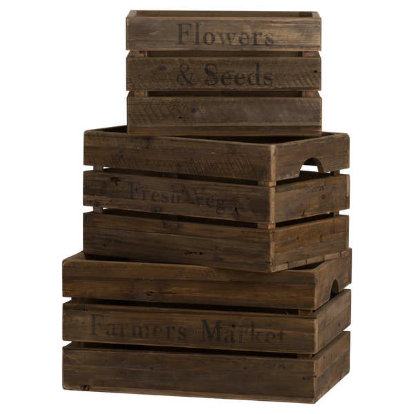 Set Of Three Rustic Storage Crates