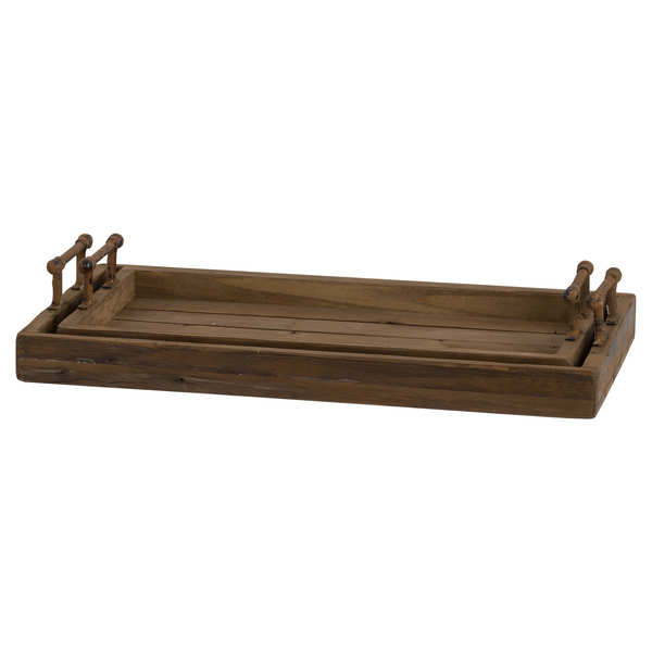 Set Of Two Rustic Trays With Metal Handle
