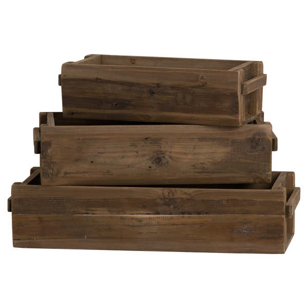 Rustic Wooden Set Of 3 Storage Troughs