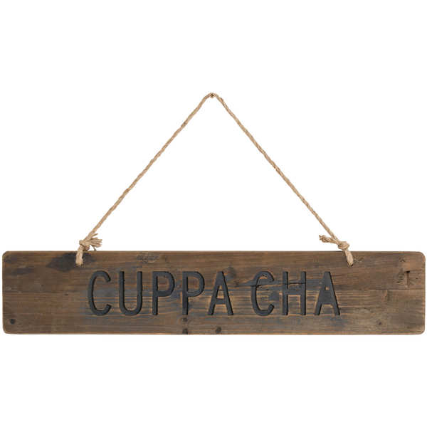 Cuppa Cha Rustic Wooden Message Plaque