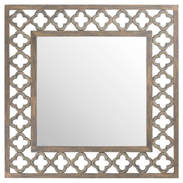 Quarterfoil Cut Out Grey Painted Square Mirror