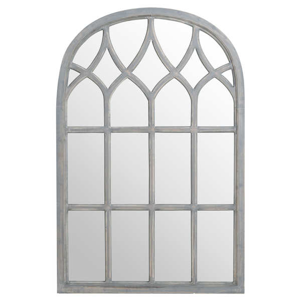Arched Gothic Grey Window Mirror