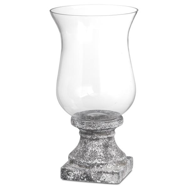 Aged Stone Large Ceramic Hurricane Lantern